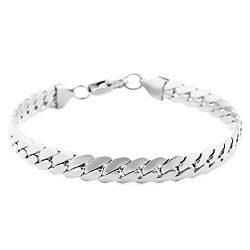 HZMAN Classic Mens Bracelet 316L Stainless Steel Cuban Curb Chain Silver Gold Black 3 Color, 8mm ...