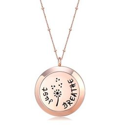 MESINYA Rose Gold Color Just Breathe Aromatherapy/Essential Oils surgical S.Steel Diffuser Locke ...