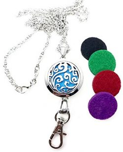 Pizazz Studios 32″ Wave Aromatherapy Oil Perfume ID Badge Holder Lanyard Necklace
