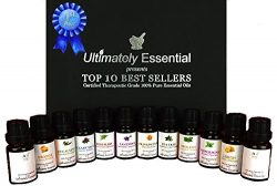 Ultimately Essential Oils Top 10 Gift Set Kit 10ml 2 Empty 2 Blend – Highest Quality 100%  ...