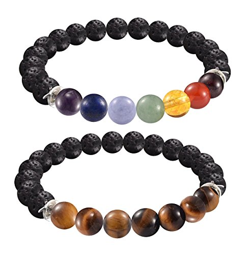 2 FOR 1 Lava Rock Bead Essential Oil Diffuser 7 Chakra Healing Bracelet Gemstone Tigers Eye Comb ...
