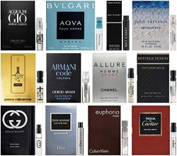 Best Selling Designer Fragrance Sampler for Men – Lot x 12 Cologne Vials
