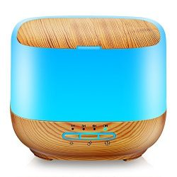 URPOWER 500ML Square Essential Oil Diffuser Humidifiers Ultrasonic Aromatherapy Diffusers with 4 ...