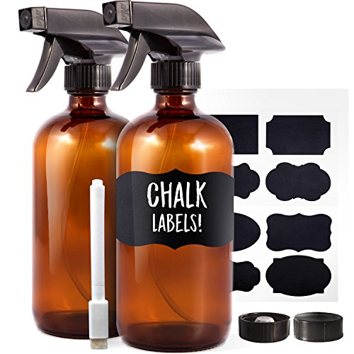 Amber Glass Spray Bottles (2 Pack, 16 oz) – Bonus: 8 Chalk Labels + Pen – Empty Refi ...